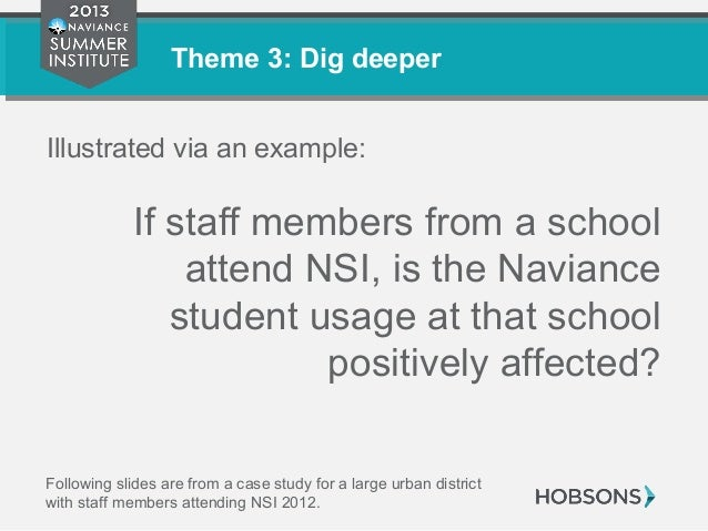 Theme 3: Dig deeper Illustrated via an example: If staff members from a school attend NSI, is the Naviance student usage a...