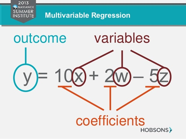 Multivariable Regression y = 10x + 2w – 5z outcome variables coefficients