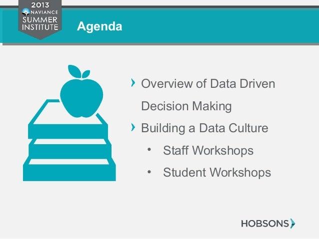 Agenda Overview of Data Driven Decision Making Building a Data Culture • Staff Workshops • Student Workshops