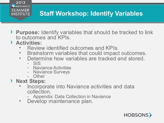 Staff Workshop: Identify Variables Purpose: Identify variables that should be tracked to link to outcomes and KPIs. Activi...