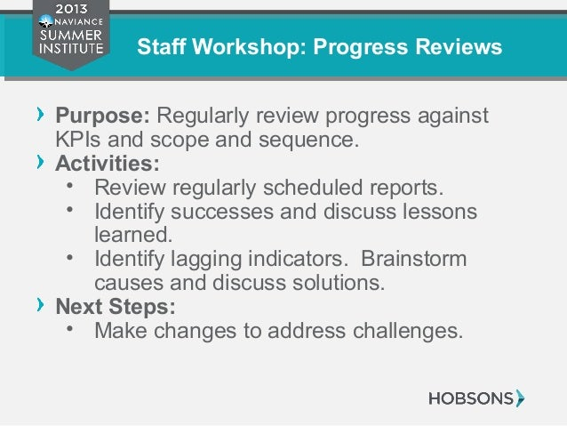 Staff Workshop: Progress Reviews Purpose: Regularly review progress against KPIs and scope and sequence. Activities: • Rev...
