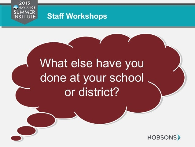 Staff Workshops What else have you done at your school or district? What else have you done at your school or district?