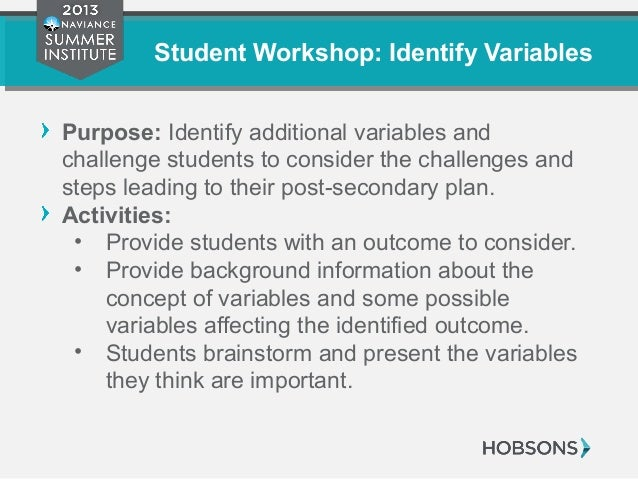 Student Workshop: Identify Variables Purpose: Identify additional variables and challenge students to consider the challen...