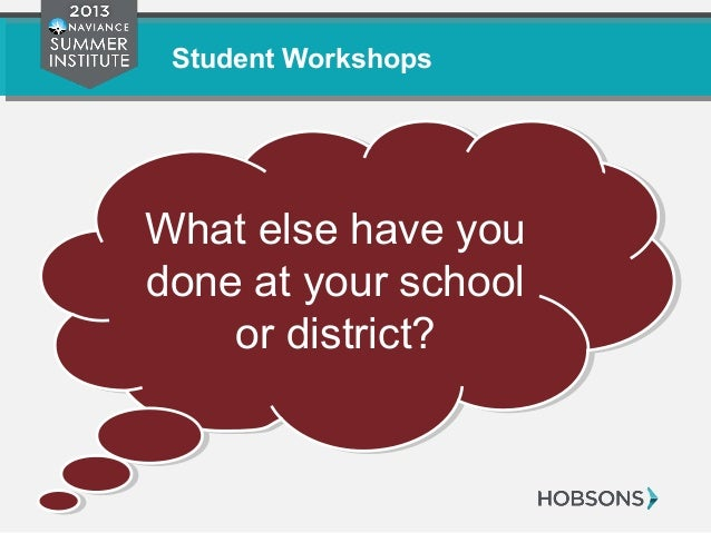 Student Workshops What else have you done at your school or district? What else have you done at your school or district?