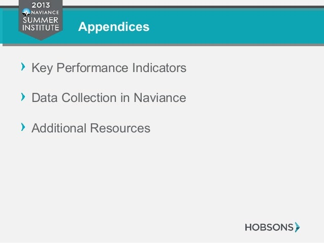 Appendices Key Performance Indicators Data Collection in Naviance Additional Resources