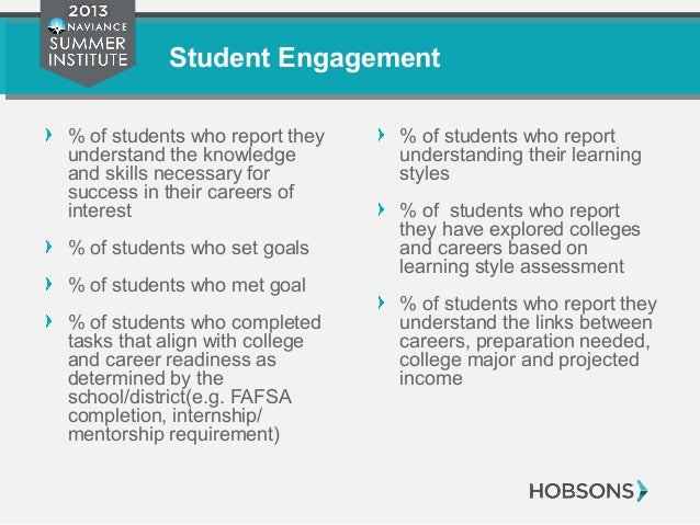 Student Engagement % of students who report they understand the knowledge and skills necessary for success in their career...