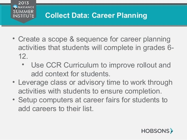 Collect Data: Career Planning • Create a scope & sequence for career planning activities that students will complete in gr...