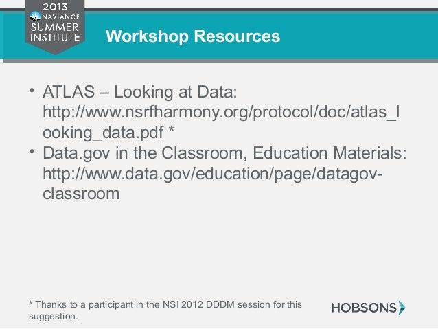 Workshop Resources • ATLAS – Looking at Data: http://www.nsrfharmony.org/protocol/doc/atlas_l ooking_data.pdf * • Data.gov...