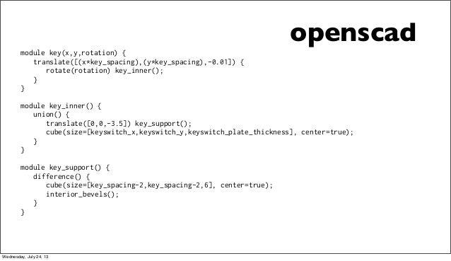 openscad module key(x,y,rotation) { translate([(x*key_spacing),(y*key_spacing),-0.01]) { rotate(rotation) key_inner(); } }...