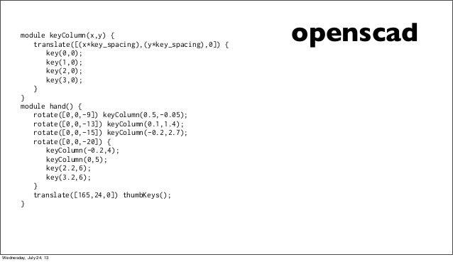 openscadmodule keyColumn(x,y) { translate([(x*key_spacing),(y*key_spacing),0]) { key(0,0); key(1,0); key(2,0); key(3,0); }...
