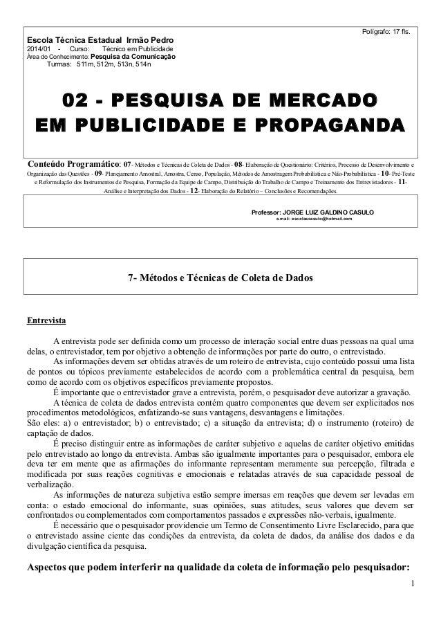 Polígrafo: 17 fls.  Escola Técnica Estadual Irmão Pedro 2014/01  -  Curso:  Técnico em Publicidade  Área do Conhecimento: ...