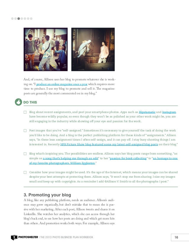 photo business plan workbook by photoshelter