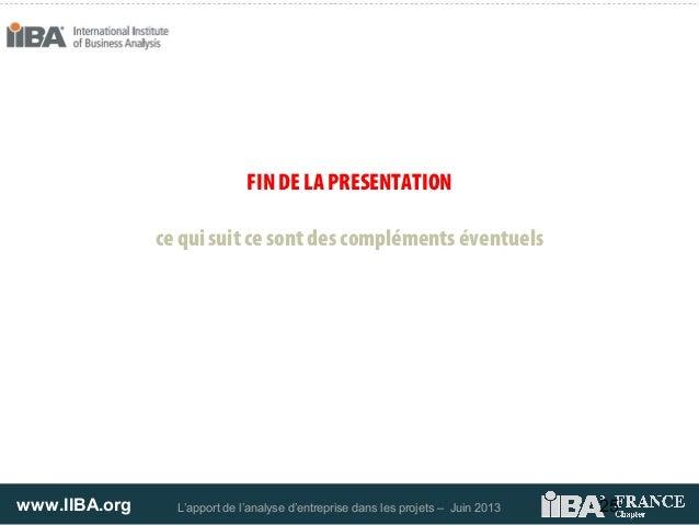 www.IIBA.org L'apport de l'analyse d'entreprise dans les projets – Juin 2013FIN DE LA PRESENTATIONce qui suit ce sont des ...