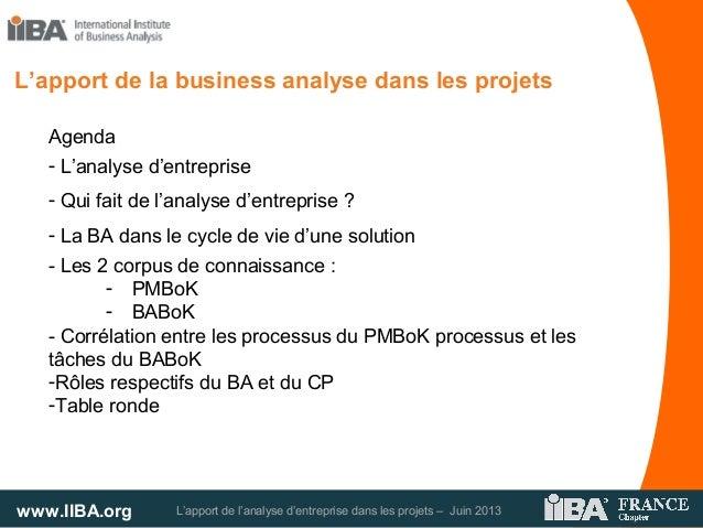 www.IIBA.org L'apport de l'analyse d'entreprise dans les projets – Juin 2013Agenda- L'analyse d'entreprise- Qui fait de l'...