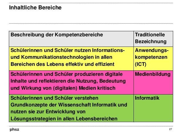 Inhaltliche Bereiche  Beschreibung der Kompetenzbereiche  Traditionelle Bezeichnung  Schülerinnen und Schüler nutzen Infor...