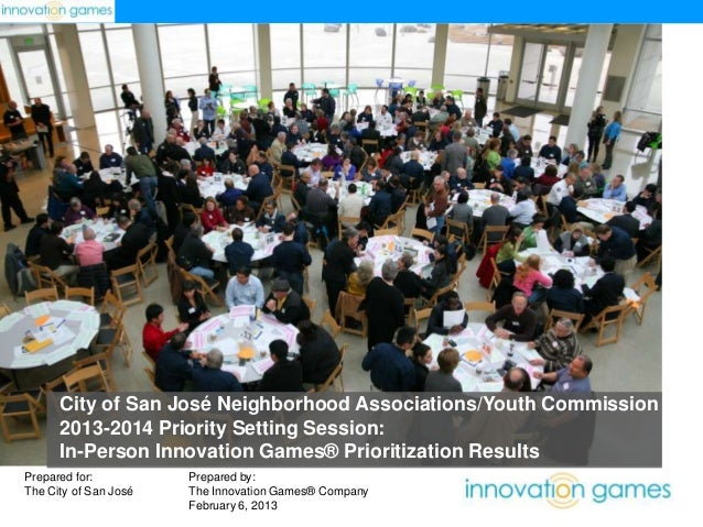 City of San José Neighborhood Associations/Youth Commission 2013-2014 Priority Setting Session: In-Person Innovation Games...