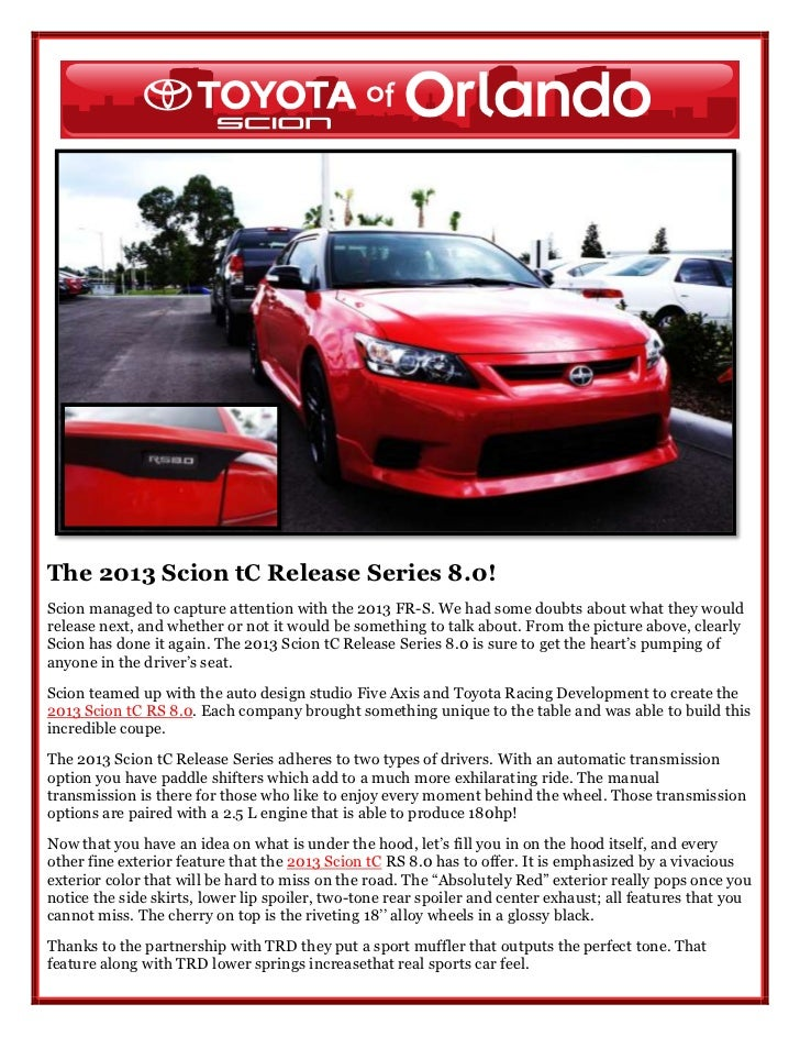 2013 scion tc release series 8 0 is in orlando. Black Bedroom Furniture Sets. Home Design Ideas