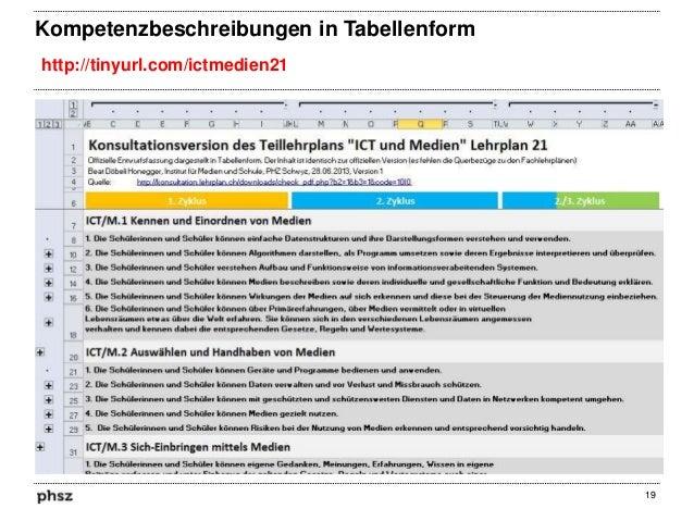 Kompetenzbeschreibungen in Tabellenform http://tinyurl.com/ictmedien21  19