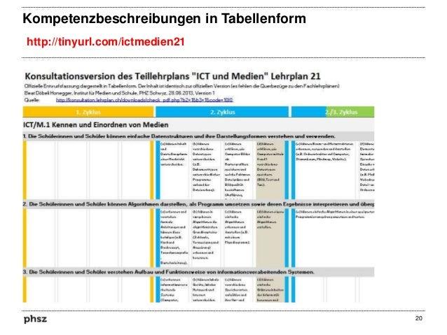 Kompetenzbeschreibungen in Tabellenform http://tinyurl.com/ictmedien21  20