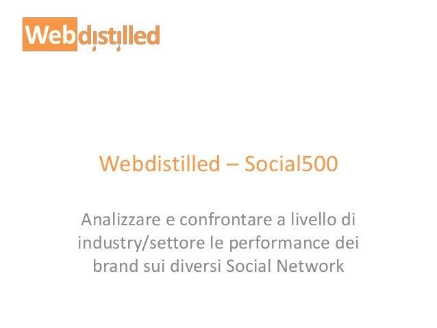 Webdistilled – Social500 Analizzare e confrontare a livello di industry/settore le performance dei brand sui diversi Socia...