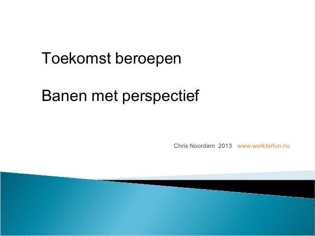 Chris Noordam 2013 www.workforfun.nu Toekomst beroepen Banen met perspectief