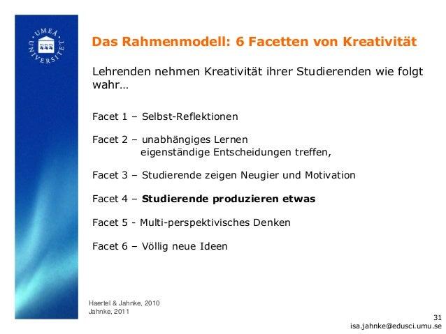 Das Rahmenmodell: 6 Facetten von Kreativität Lehrenden nehmen Kreativität ihrer Studierenden wie folgt wahr… Facet 1 – Sel...