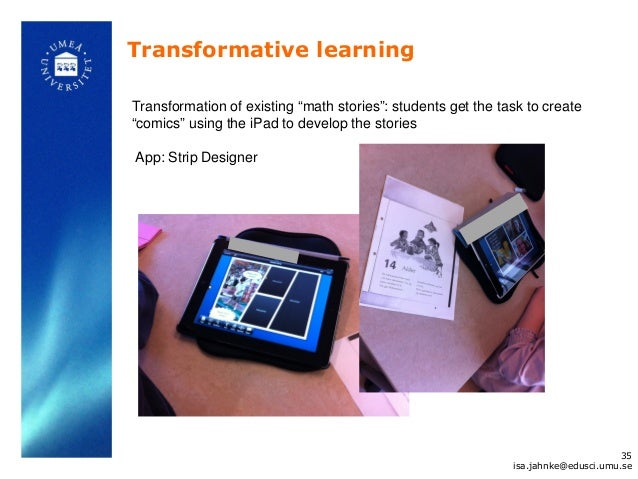 """Transformative learningTransformation of existing """"math stories"""": students get the task to create""""comics"""" using the iPad t..."""