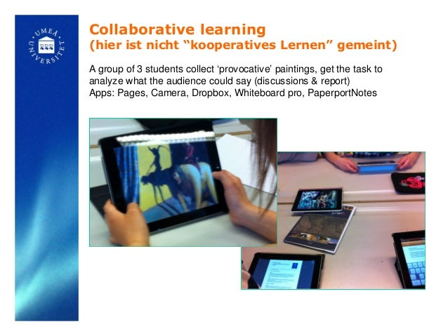 """Collaborative learning(hier ist nicht """"kooperatives Lernen"""" gemeint)A group of 3 students collect 'provocative' paintings,..."""