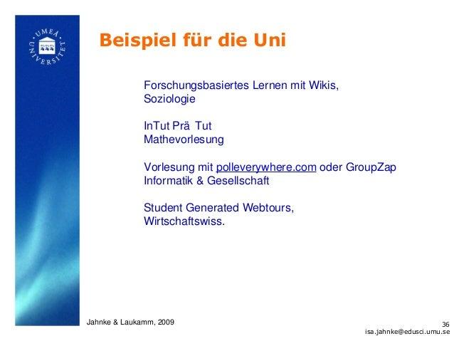 Beispiel für die Uni              Forschungsbasiertes Lernen mit Wikis,              Soziologie              InTut Prä Tut...