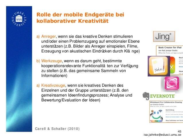 Rolle der mobile Endgeräte beikollaborativer Kreativitäta) Anreger, wenn sie das kreative Denken stimulieren   und/oder ei...