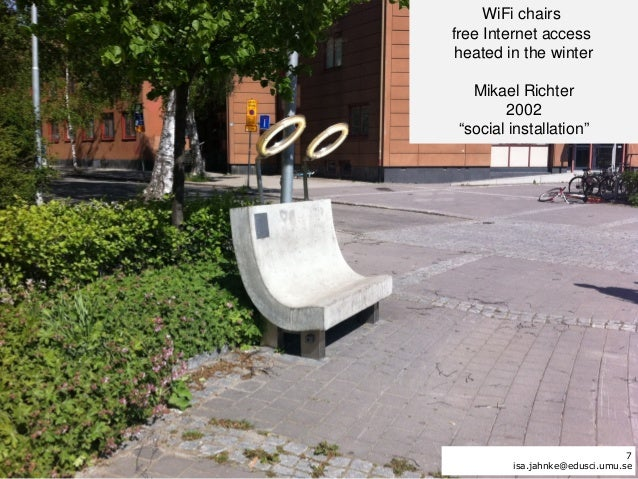 """WiFi chairsfree Internet access heated in the winter   Mikael Richter        2002 """"social installation""""                   ..."""