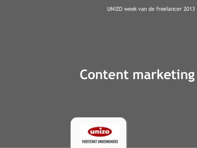 Content marketingUNIZO week van de freelancer 2013