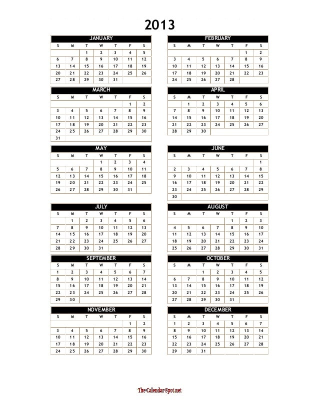 Calendar Year Quota Share : Yearly calendar template word one page