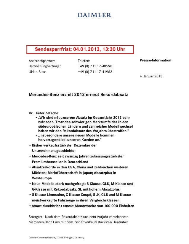 Sendesperrfrist: 04.01.2013, 13:30 UhrAnsprechpartner:                          Telefon:               Presse-InformationB...