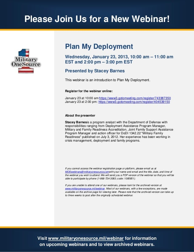 Please Join Us for a New Webinar!               Plan My Deployment               Wednesday, January 23, 2013, 10:00 am – 1...