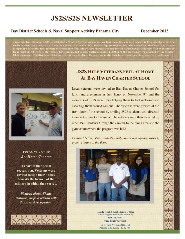 JS2S/S2S NEWSLETTERBay District Schools & Naval Support Activity Panama City                                              ...