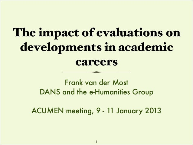 The impact of evaluations on developments in academic careers Frank van der Most DANS and the e-Humanities Group !  ACUMEN...