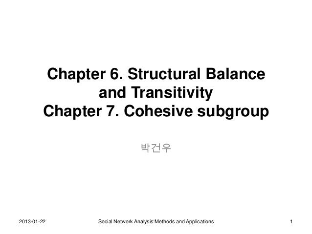 Chapter 6. Structural Balance              and Transitivity        Chapter 7. Cohesive subgroup                           ...