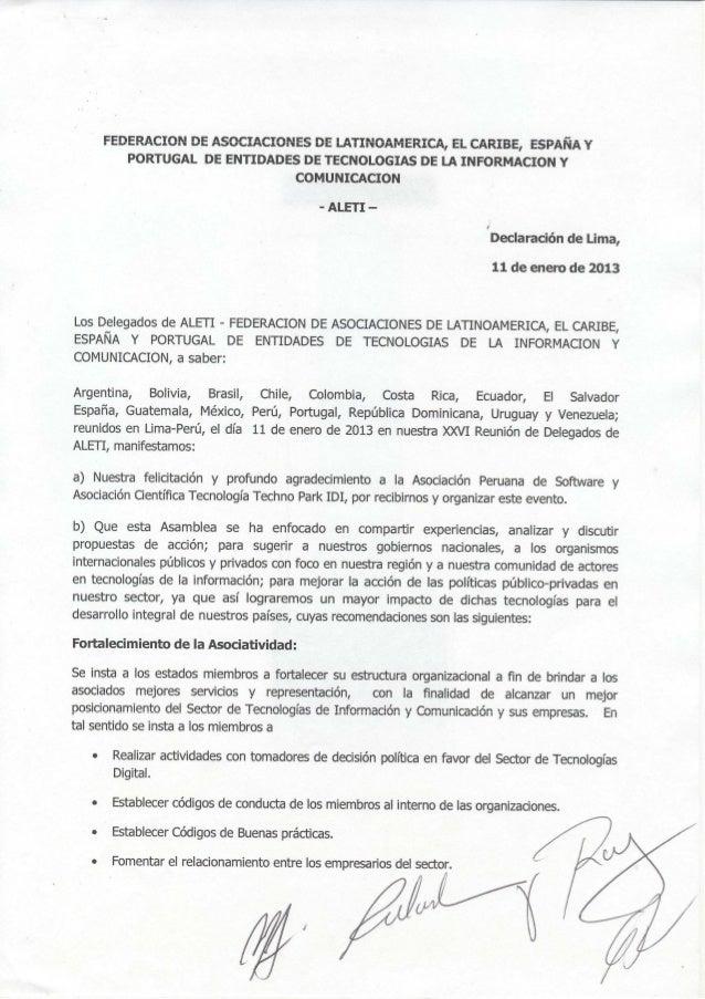 Declaração de Lima na ALETI