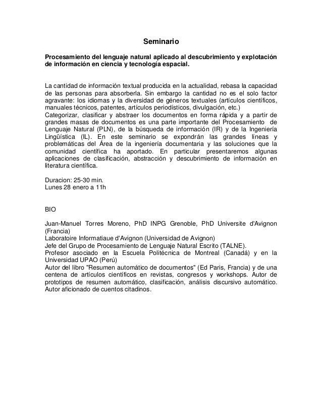 SeminarioProcesamiento del lenguaje natural aplicado al descubrimiento y explotaciónde información en ciencia y tecnología...