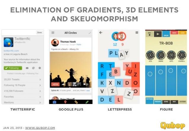 ELIMINATION OF GRADIENTS, 3D ELEMENTS            AND SKEUOMORPHISM    TWITTERRIFIC               GOOGLE PLUS   LETTERPRESS...