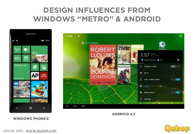 """DESIGN INFLUENCES FROM               WINDOWS """"METRO"""" & ANDROID                               ANDROID 4.2     WINDOWS PHONE..."""