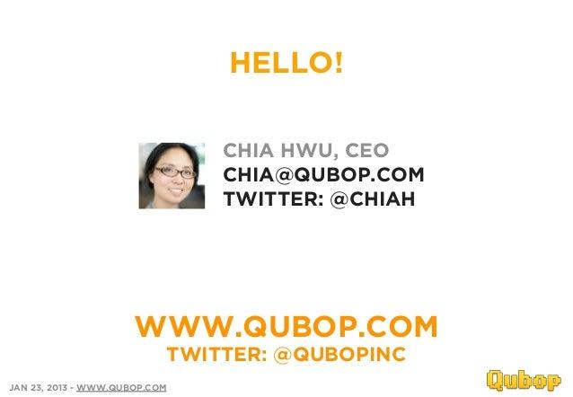 HELLO!                               CHIA HWU, CEO                               CHIA@QUBOP.COM                           ...