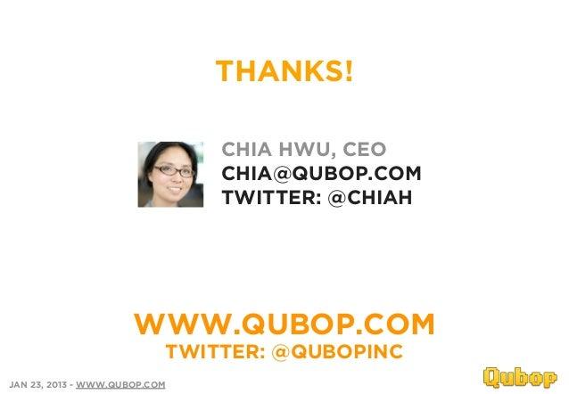 THANKS!                               CHIA HWU, CEO                               CHIA@QUBOP.COM                          ...