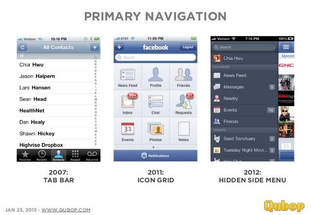 PRIMARY NAVIGATION             2007:                2011:          2012:            TAB BAR            ICON GRID   HIDDEN ...