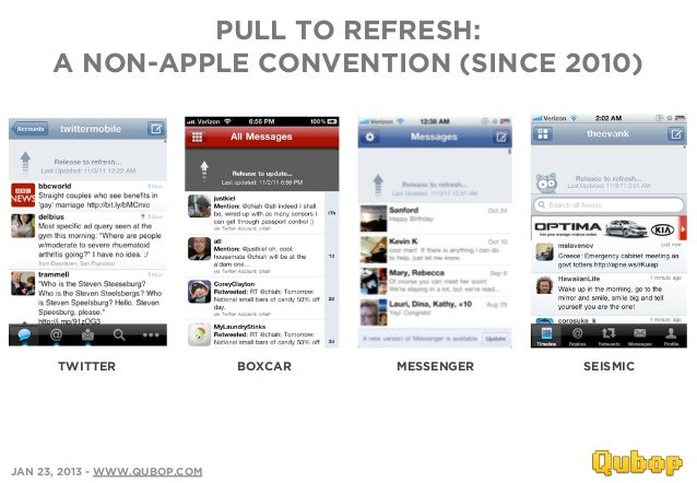 PULL TO REFRESH:      A NON-APPLE CONVENTION (SINCE 2010)      TWITTER                  BOXCAR   MESSENGER   SEISMICJAN 23...
