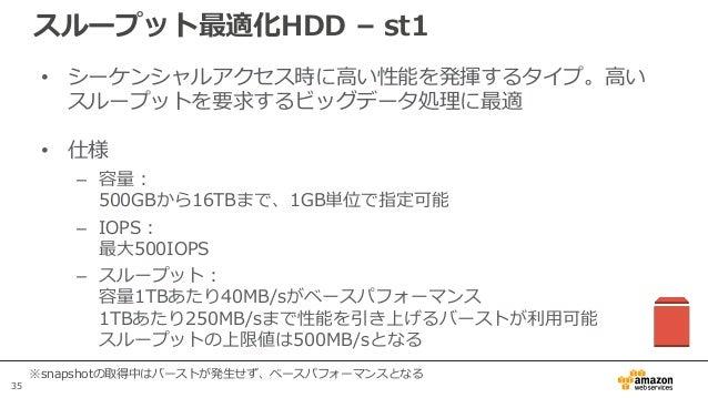 35 スループット最適化HDD – st1 • シーケンシャルアクセス時に高い性能を発揮するタイプ。高い スループットを要求するビッグデータ処理に最適 • 仕様 – 容量: 500GBから16TBまで、1GB単位で指定可能 – IOPS: 最大...