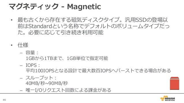 45 マグネティック - Magnetic • 最も古くから存在する磁気ディスクタイプ。汎用SSDの登場以 前はStandardという名称でデフォルトのボリュームタイプだっ た。必要に応じて引き続き利用可能 • 仕様 – 容量: 1GBから1T...