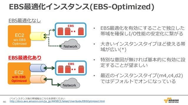 46 • EBS最適化を有効にすることで独立した 帯域を確保しI/O性能の安定化に繋がる • 大きいインスタンスタイプほど使える帯 域が広い(*) • 特別な意図が無ければ基本的に有効に設 定することが望ましい • 最近のインスタンスタイプ(m...