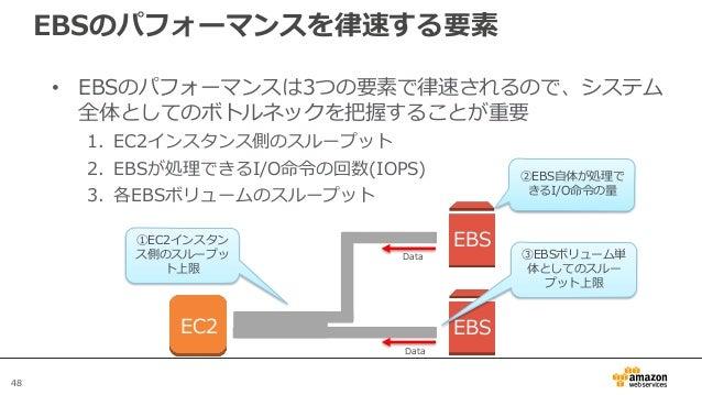 48 EBSのパフォーマンスを律速する要素 • EBSのパフォーマンスは3つの要素で律速されるので、システム 全体としてのボトルネックを把握することが重要 1. EC2インスタンス側のスループット 2. EBSが処理できるI/O命令の回数(IO...